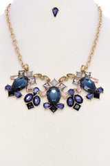 Midnight Blue Jewel Statement Necklace/Earring Set