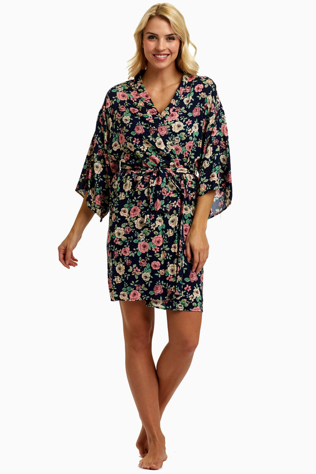 Navy Blue Rose Delivery/Nursing Robe