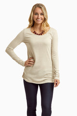 Beige Ribbed Knit Top