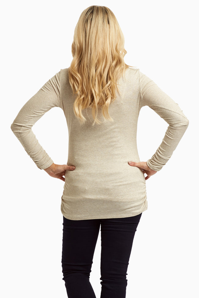 Beige Ribbed Knit Maternity Top