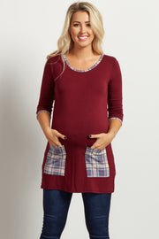 Burgundy Plaid Accent 3/4 Sleeve Maternity Top