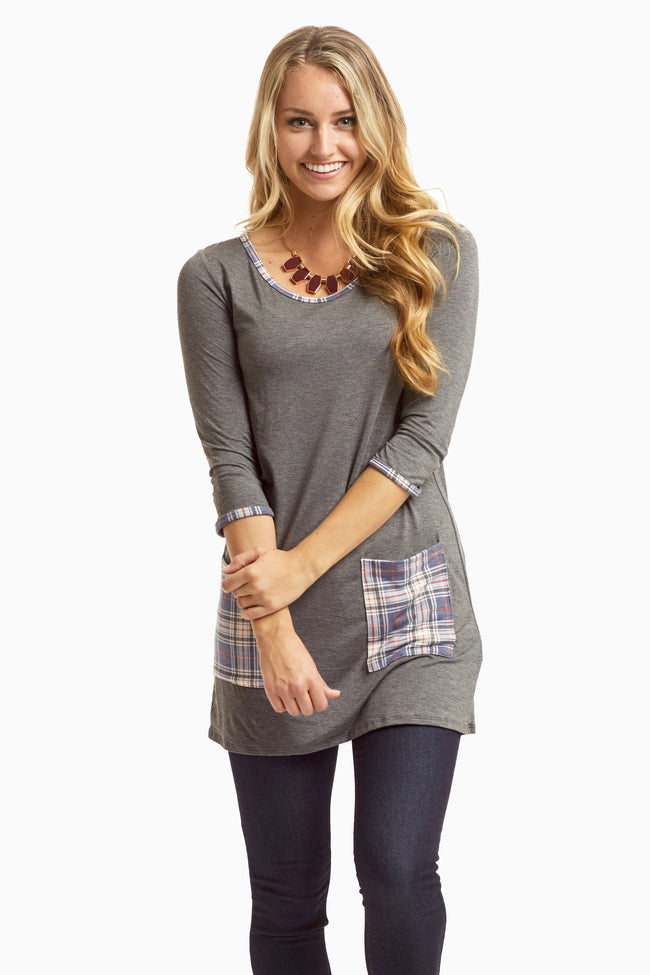 Charcoal Plaid Accent 3/4 Sleeve Maternity Top