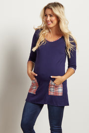 Navy Plaid Accent 3/4 Sleeve Maternity Top