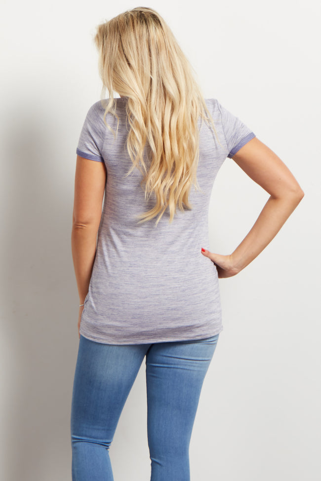 Blue Heathered Short Sleeve Maternity Top