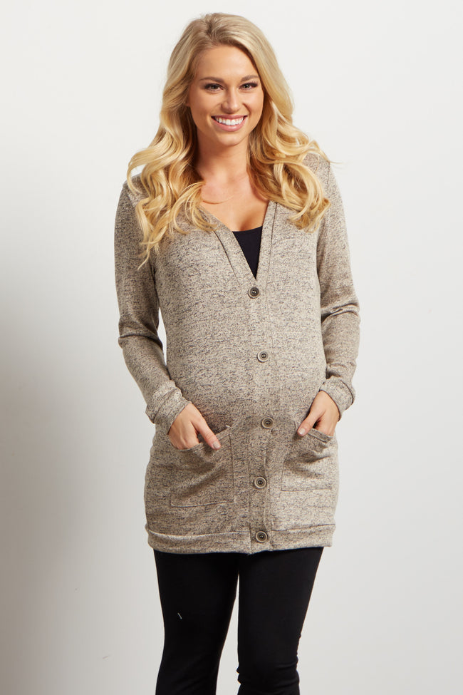Beige Heathered Button Up Maternity Cardigan
