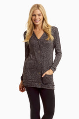 Black Heathered Button Up Maternity Cardigan