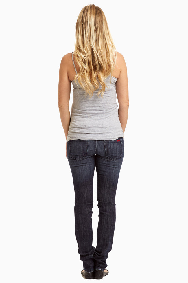Dark Wash Distressed Maternity Skinny Jeans