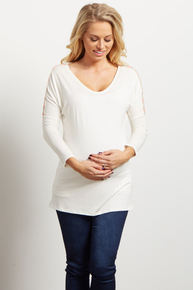 Ivory Neon Chevron Shoulder Maternity Top