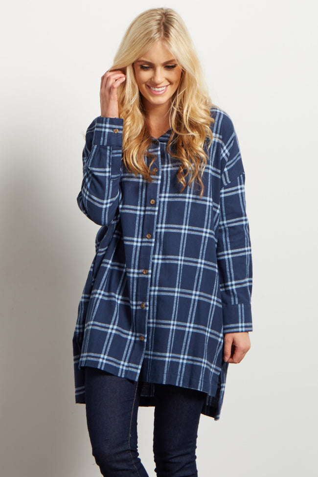 Blue Plaid Flannel Maternity Button Up