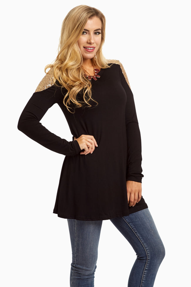 Black Sequin Shoulder Long Sleeve Top