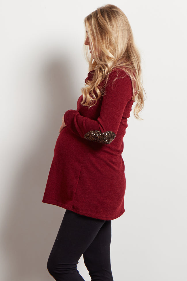 Burgundy Sequin Elbow Cowl Neck Maternity Top
