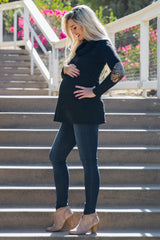 Black Sequin Elbow Cowl Neck Maternity Top