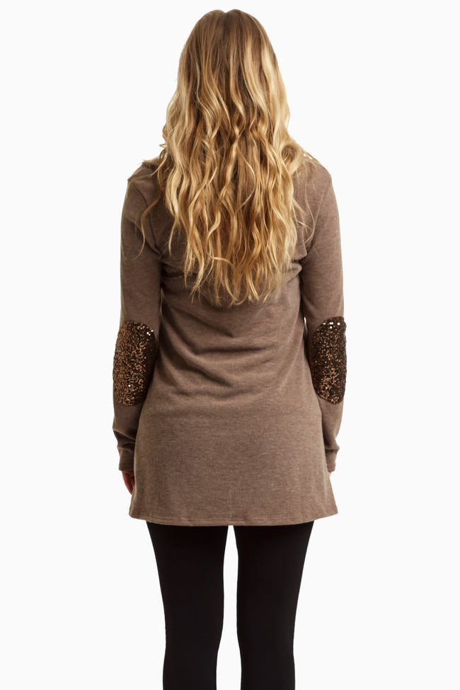 Brown Sequin Elbow Cowl Neck Maternity Top