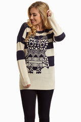 Navy Striped Owl Knit Maternity Sweater