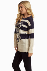 Navy Striped Owl Knit Sweater