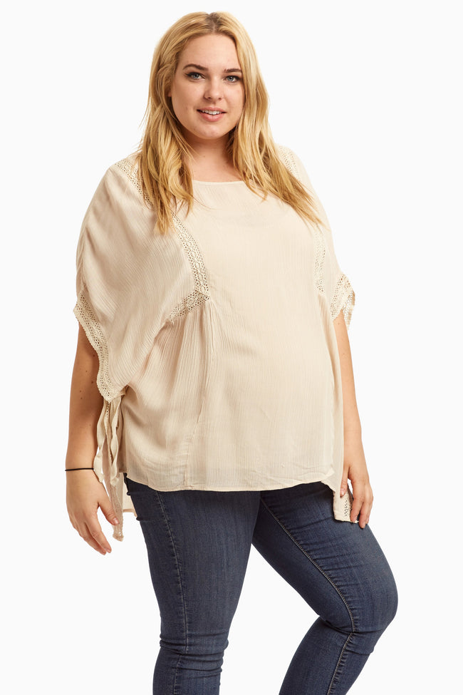 Beige Crochet Accent Tie Side Plus Size Maternity Blouse