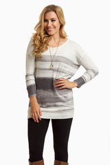 Grey White Painted Stripe Knit Top