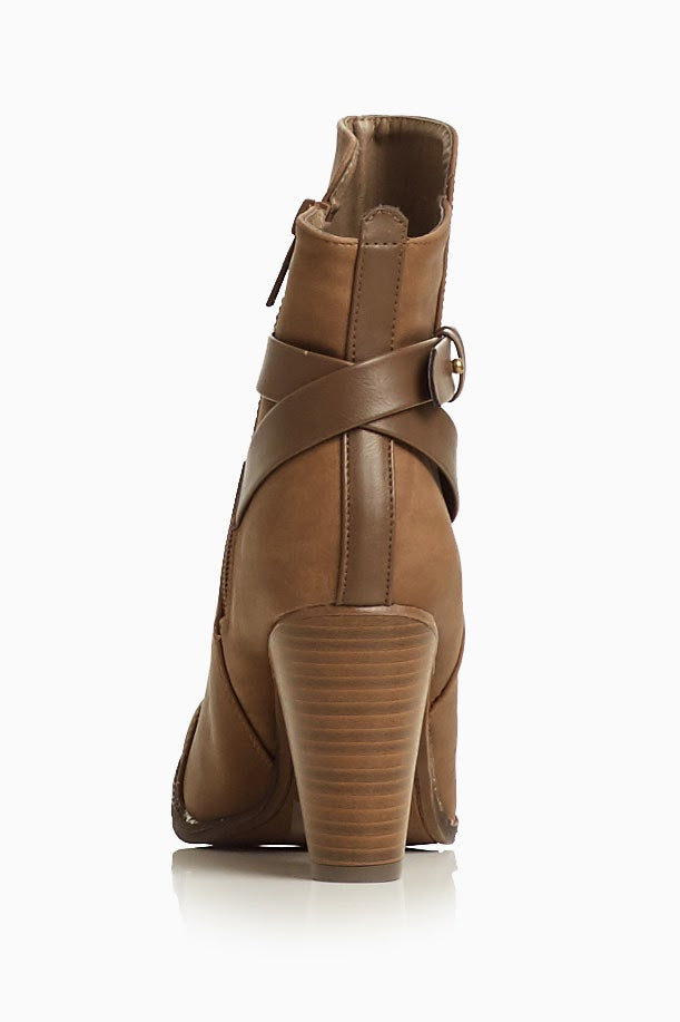 Tan Faux Leather Tall Ankle Boot