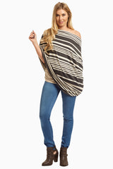 Charcoal Alternating Striped Nursing Cover/Scarf