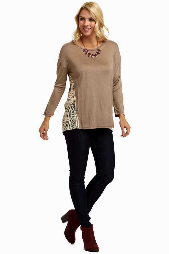 Taupe Open Crochet Side Top