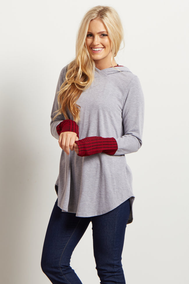 Heather Grey Plaid Accent Hooded Maternity Top