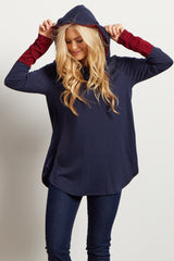 Navy Blue Plaid Accent Hooded Maternity Top