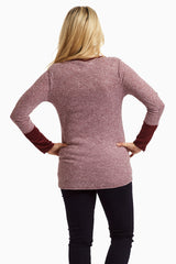 Burgundy Suede Cuff Maternity Top