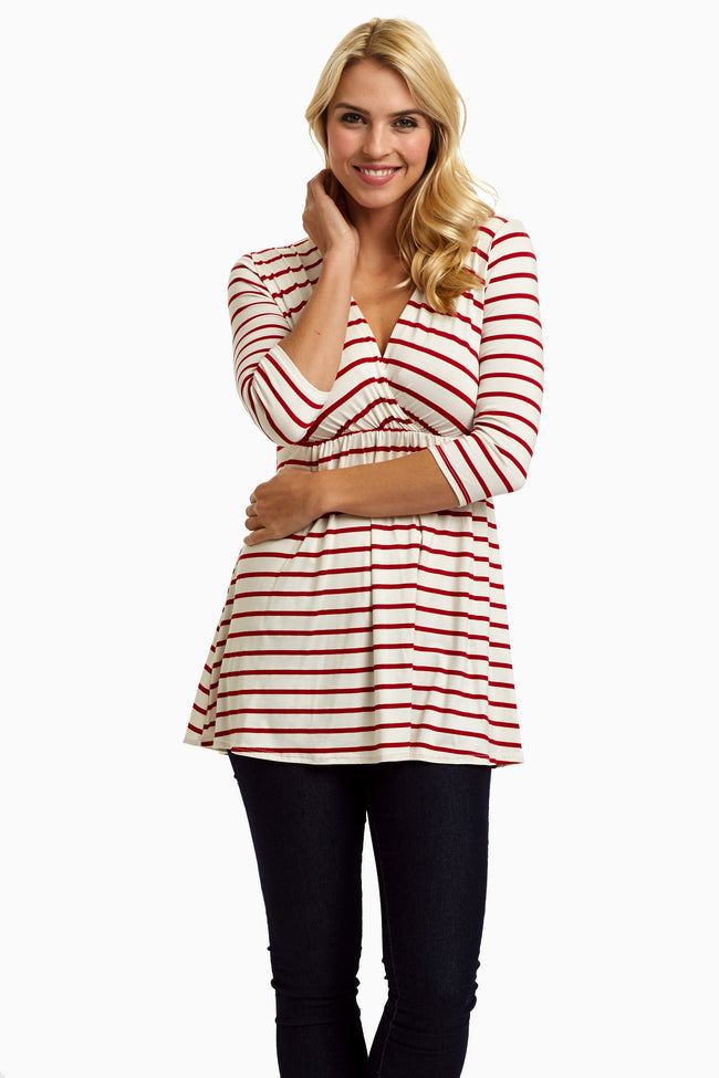 Red Striped 3/4 Sleeve Drape Nursing/Maternity Top
