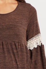 Brown Knit Crochet Accent Bell Sleeve Maternity Tunic/Dress