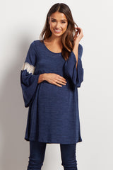 Navy Knit Crochet Accent Bell Sleeve Maternity Tunic/Dress