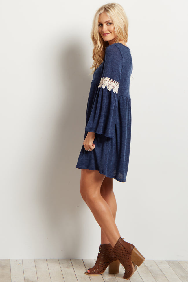 Navy Knit Crochet Accent Bell Sleeve Tunic/Dress