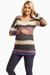 Multi-Color Striped Suede Elbow Knit Maternity Top