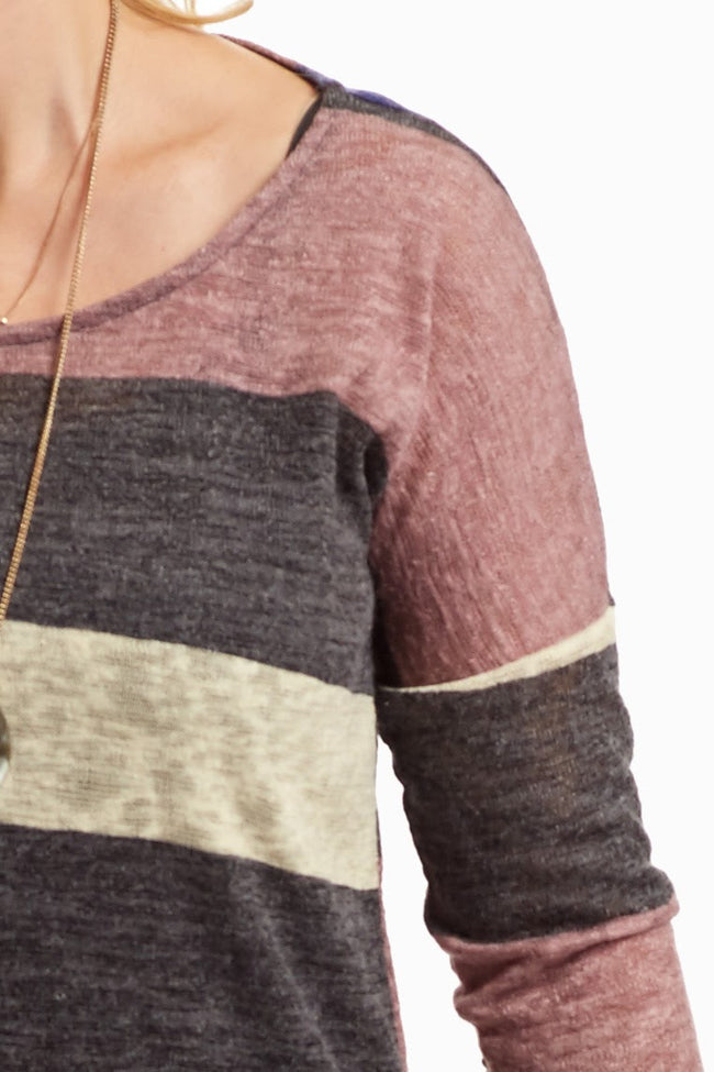 Multi-Color Striped Suede Elbow Knit Top