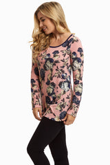 Pink Navy Rose Knit Sweater Top