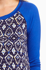 Blue Ikat Printed Maternity Top