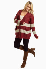 Burgundy Striped Button Up Oversized Knit Maternity Cardigan