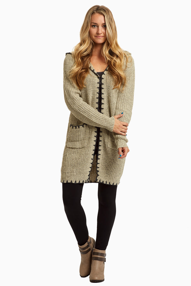 Beige Hooded Long Knit Cardigan