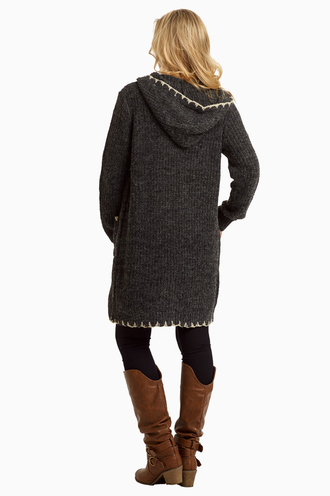 Charcoal Hooded Long Knit Cardigan