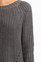 Charcoal Solid Heavy Knit Sweater
