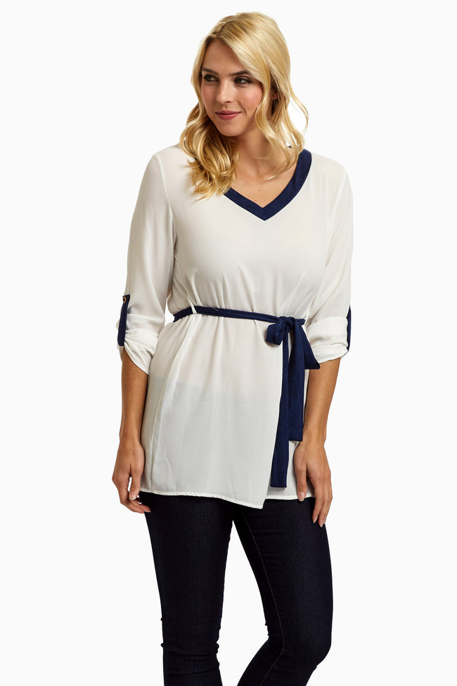 Navy Suede Accent Chiffon Maternity Blouse