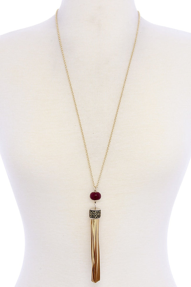 Burgundy Large Tassel Necklace