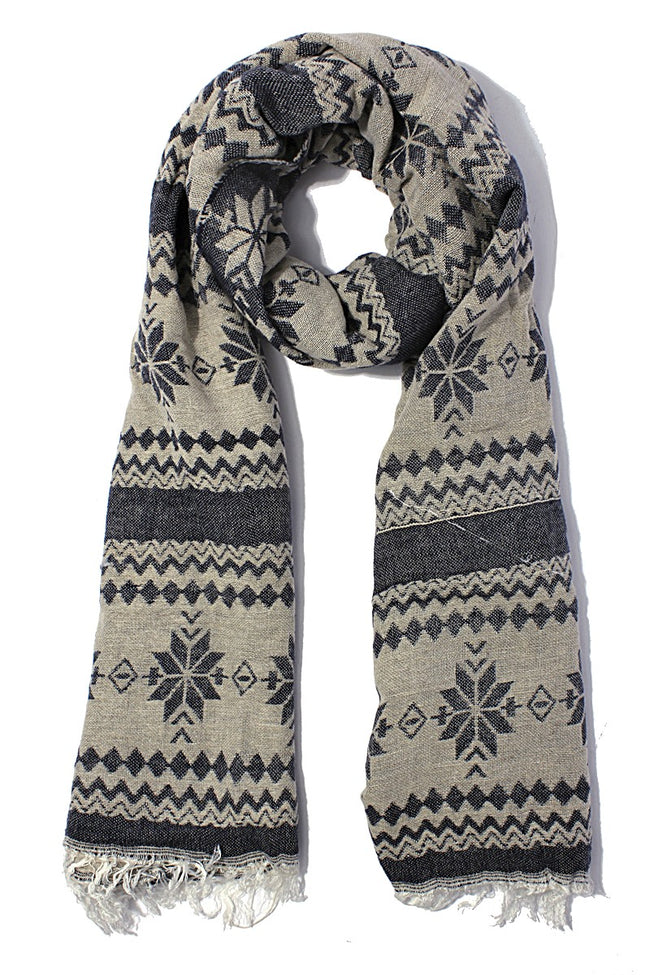 Navy Snowflake Knit Scarf