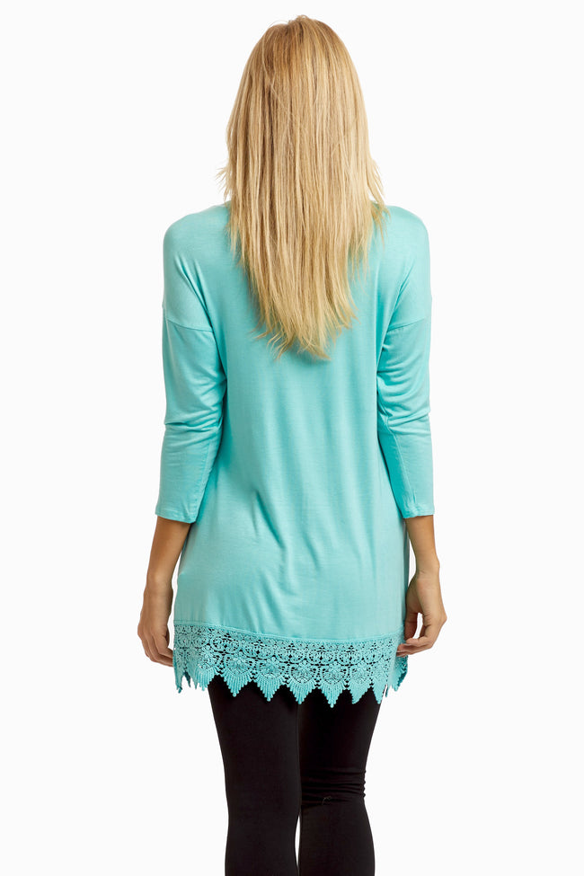 Mint Green Crochet Hem Top
