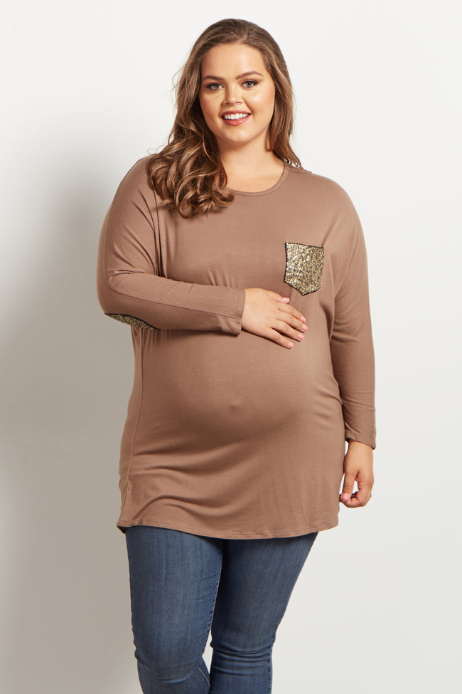Mocha Sequin Accent Plus Maternity Top