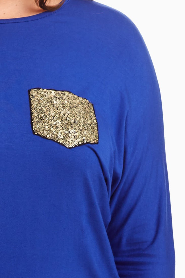 Royal Blue Sequin Accent Plus Size Top