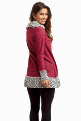 Burgundy Tribal Accent Zip Collar Top