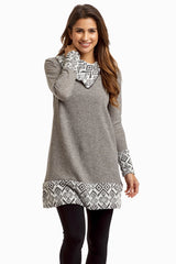 Charcoal Tribal Accent Zip Collar Maternity Top