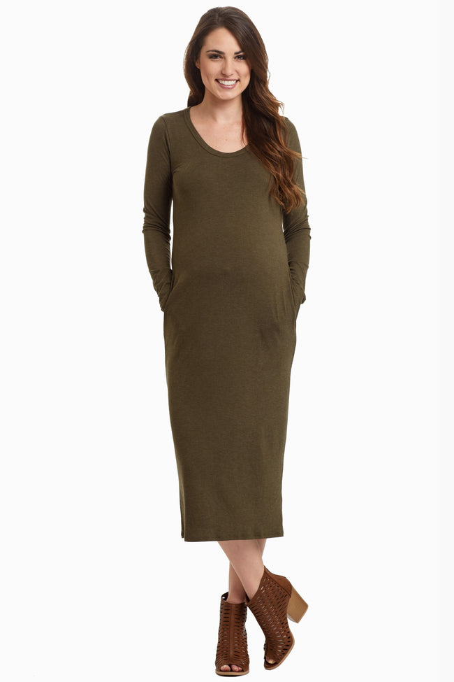 Olive Solid Maternity Midi Dress