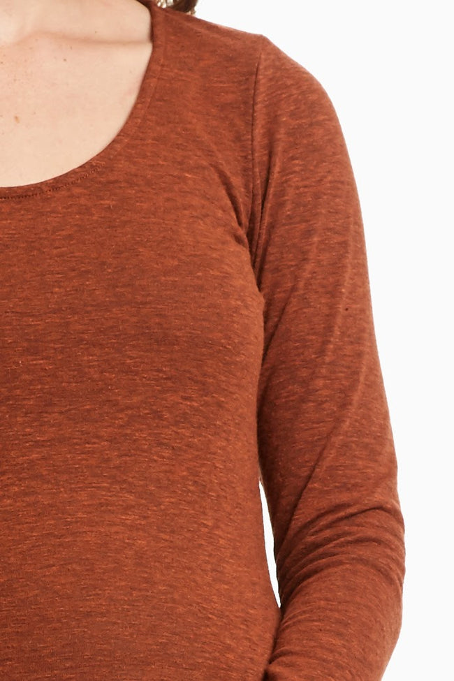 Rust Two Toned Fitted Knit Maternity Top