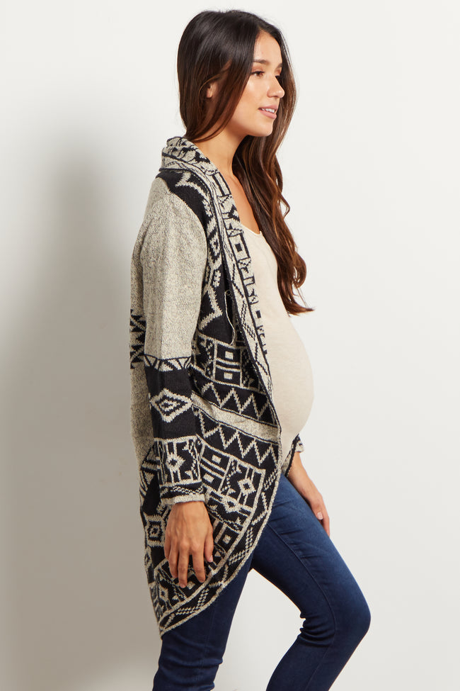 Black Aztec Dolman Oversized Knit Maternity Cardigan